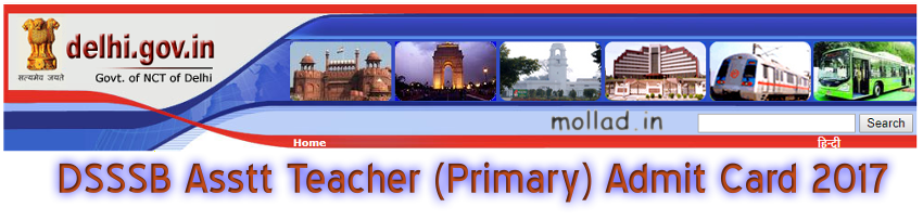 DSSSB Asstt Teacher Primary Admit Card