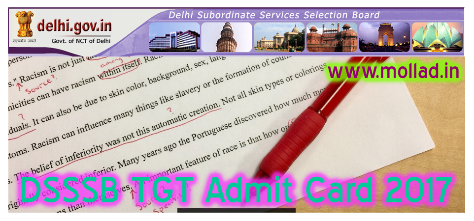 dsssb tgt admit card 2017